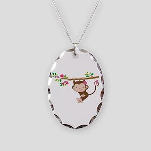 Swinging Baby Monkey Necklace Oval Charm