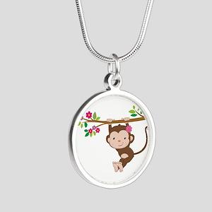 Swinging Baby Monkey Silver Round Necklace