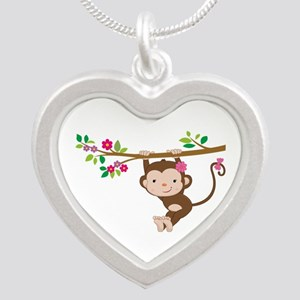Swinging Baby Monkey Silver Heart Necklace