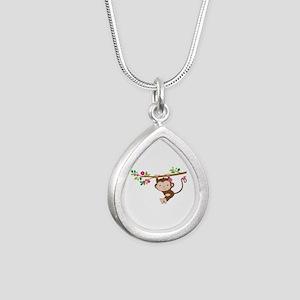 Swinging Baby Monkey Silver Teardrop Necklace