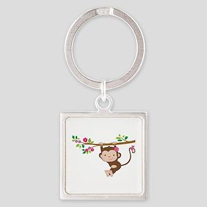 Swinging Baby Monkey Square Keychain