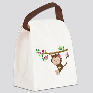Swinging Baby Monkey Canvas Lunch Bag