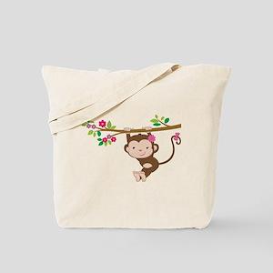 Swinging Baby Monkey Tote Bag