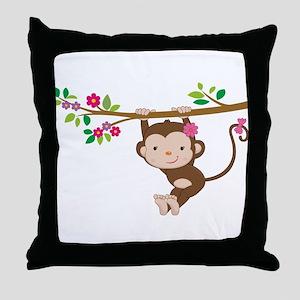Swinging Baby Monkey Throw Pillow