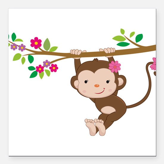 "Swinging Baby Monkey Square Car Magnet 3"" x 3"""