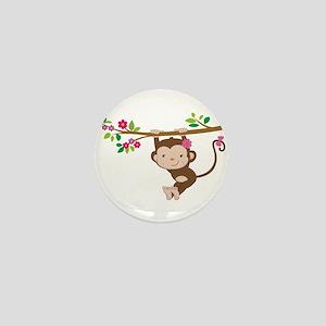 Swinging Baby Monkey Mini Button