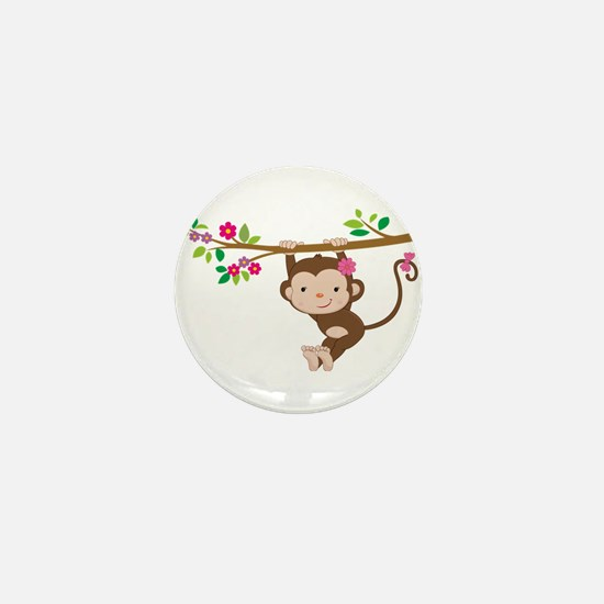 Swinging Baby Monkey Mini Button