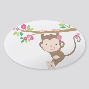 Swinging Baby Monkey Sticker (Oval)