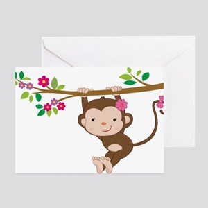 Swinging Baby Monkey Greeting Card