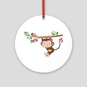 Swinging Baby Monkey Ornament (Round)