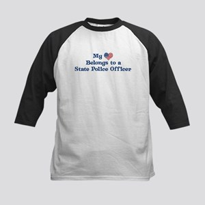My Heart: State Police Office Kids Baseball Jersey