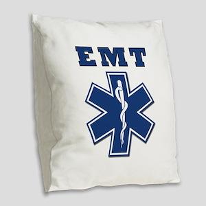 EMT Blue Star Of Life* Burlap Throw Pillow