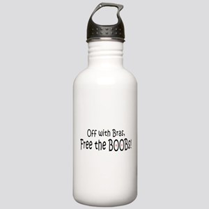 Off with the bras, free the boobs Water Bottle