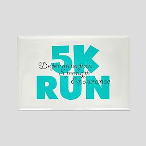 5K Run Aqua Rectangle Magnet