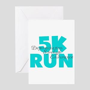 5K Run Aqua Greeting Card