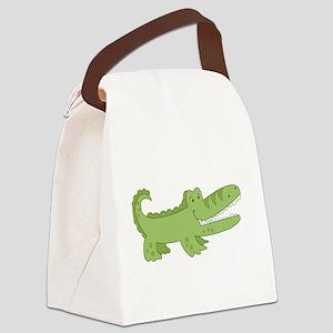 Cutest Green Alligator Canvas Lunch Bag
