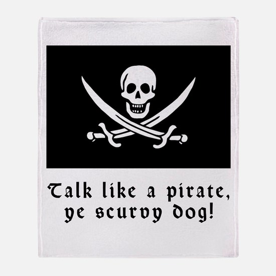 Jolly Roger Talk Like a Pirate Throw Blanket