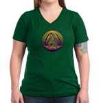 Guadalupe Circle - 1 Women's V-Neck Dark T-Shirt