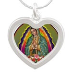 Guadalupe Circle - 1 Silver Heart Necklace