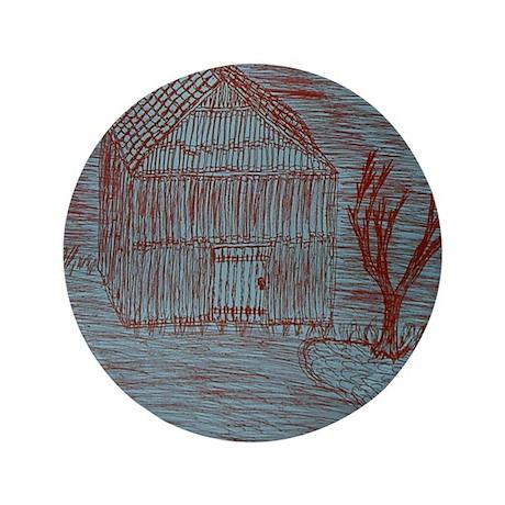 "Zoe's Art Stuff House Hut Tree in Red 3.5"" Button"