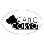Black Cane Corso Oval Sticker