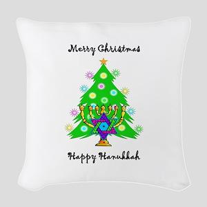 Christmas Hanukkah Interfaith Woven Throw Pillow