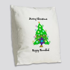 Christmas Hanukkah Interfaith Burlap Throw Pillow