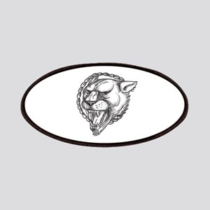 Lioness Growling Rope Circle Tattoo Patch