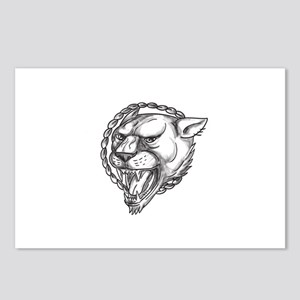 Lioness Growling Rope Circle Tattoo Postcards (Pac