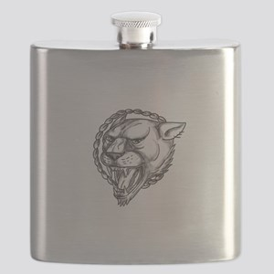 Lioness Growling Rope Circle Tattoo Flask