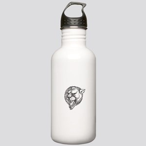 Lioness Growling Rope Circle Tattoo Water Bottle