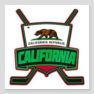 "California Hockey Logo Shield Square Car Magnet 3"""