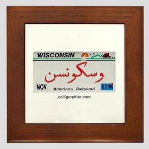 Wisconsin License Plate Framed Tile