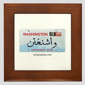 Washington License Plate Framed Tile