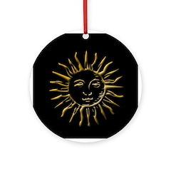 Gold Sun on Black Ornament (Round)