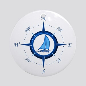 Sailboat And Blue Compass Ornament (Round)
