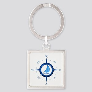 Sailboat And Blue Compass Keychains