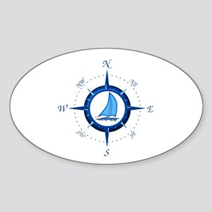 Sailboat And Blue Compass Sticker