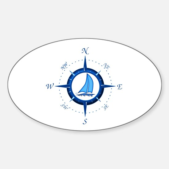 Sailboat And Blue Compass Decal