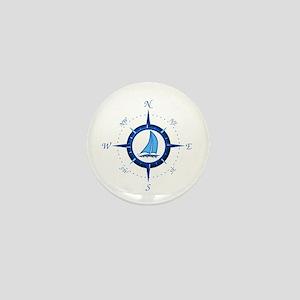 Sailboat And Blue Compass Mini Button