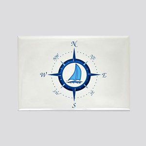 Sailboat And Blue Compass Rectangle Magnet