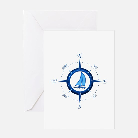 Sailboat And Blue Compass Greeting Card