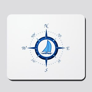 Sailboat And Blue Compass Mousepad