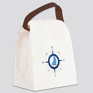 Sailboat And Blue Compass Canvas Lunch Bag