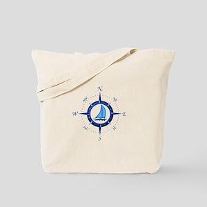 Sailboat And Blue Compass Tote Bag