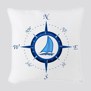 Sailboat And Blue Compass Woven Throw Pillow
