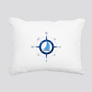 Sailboat And Blue Compass Rectangular Canvas Pillo