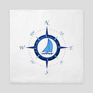 Sailboat And Blue Compass Queen Duvet