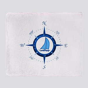 Sailboat And Blue Compass Throw Blanket