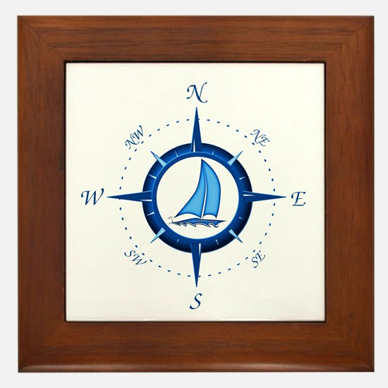 Sailboat And Blue Compass Framed Tile